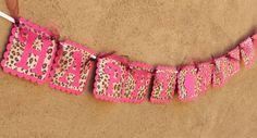 Pink Leopard Print HAPPY BIRTHDAY Banner