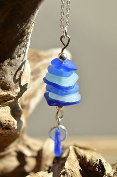 Stacked Cobalt Blue Sea Glass Pendant. $35.00, via Etsy.