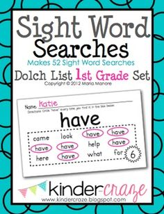 Sight Word Searches for every word in the First Grade Dolch Word List, $8