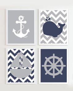 INSTANT DOWNLOAD Chevron Nautical Nursery Navy by PrincessSnap, $16.00  ...more like nautical Ashley's room because little kids don't deserve it