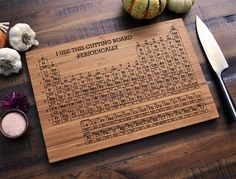 Periodic Table of the Elements Engraved Wood by ElysiumWoodworks, $40.00