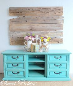 Refinished dresser.. Why don't I do this? I never thought to paint our old dresser. I even have barrel slats for a wall decoration