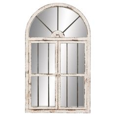 Weathered window-inspired wall mirror with hinged doors.Product: Wall mirrorConstruction Material: Wood and mirrored g...