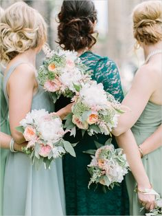 I love the color scheme of pale green (not the green dress in middle) and orange and pink. So pretty!