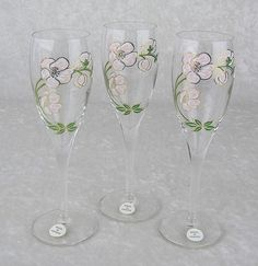 Vintage Perrier Jouet France Hand Painted Champagne Flutes