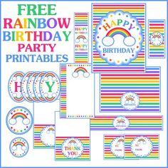 Free rainbow birthday party printables