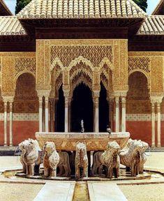 Patio de los leones, Alhambra de Granada, España