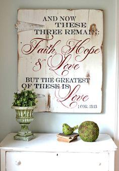 """""""Faith, Hope & Love"""" Wood Sign {customizable}"""