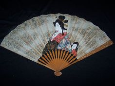 Oriental Antique Fan * Painted Geisha And Child +Gold Accents * geisha, orient fan, antiqu fan, orient antiqu, fan collect, hand fan