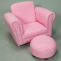 Gift Mark Upholstered Rocker with Ottoman in Light Pink