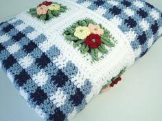 Crocheted Blue Gingham Blanket
