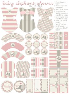 DIY PDF Printable Baby Girl, Baby Shower, Party Package, Baby Elephant Shower.