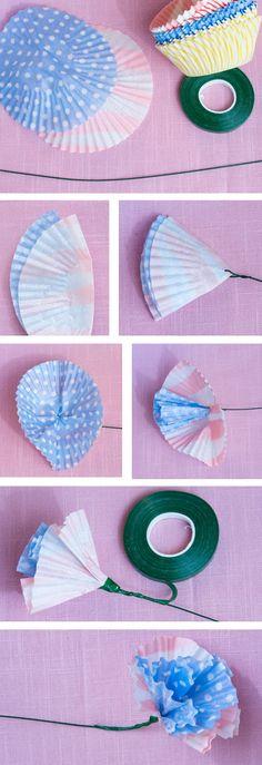 DIY cupcake liner flowers