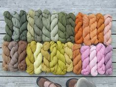 Yarns dyed with natural herbs.
