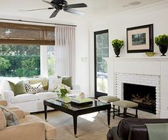 White Living Room, white fireplace