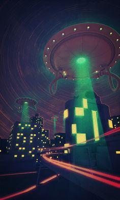 UFO: over city night