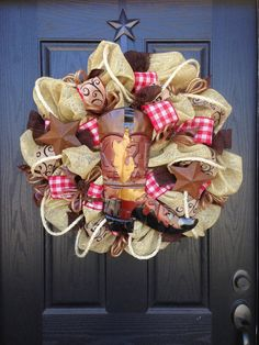 WESTERN BOOT BURLAP Mesh Wreath by GlitzyWreaths on Etsy, $110.00