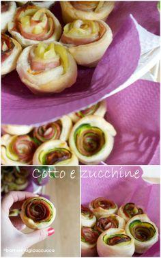 Rose di sfoglia speck e patate, cotto e zucchine