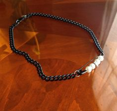 Pearl safety pendant on matte black chain