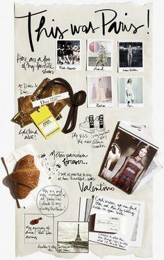 layout journal, fashion weeks, paris fashion, travel scrapbook, mood boards, layout, inspiration boards, collag, design