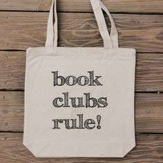Book Club Tote Bag by HandmadeandCraft on Etsy...great gift for all your book lovin' friends! #etsy #books #reading