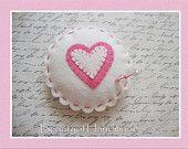 Wool Felt Heart Pincushion Pillow, Beads Stick Pin,bowl filler,pin cushion, applique embroidery