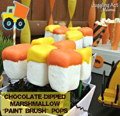 """Really cool birthday theme and treats! Construction birthday party. Juggling Act: Marshmallow """"Paintbrush"""" Pops construct parti, chocol dip, birthday parties, construction birthday, birthday idea, birthday themes, marshmallows, juggl, marshmallow paintbrush"""