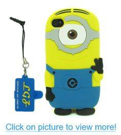 DD(TM) Style01 3D Cartoon Despicable Me 2 Minions Henchmen Soft Silicone Case Skin Protective Cover for Apple iPhone 5 5s 5G 5th Generation with 3 in 1 Anti-dust Plug/LCD Cleaning Cloth/Cable Tie