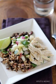 Black Beans with Chicken and Apple Salsa