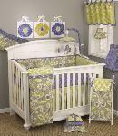 Periwinkle Baby Crib Bedding, Purple Floral Crib Bedding