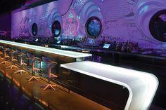 Chroma w/structural seam las vegas, bar lighting, bar tops, bar areas, lounges, revolutions, humà design, revolut loung, bar designs