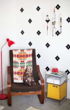 wall appliques   Using wall decals to make an all-over pattern is so inventive. And I ...