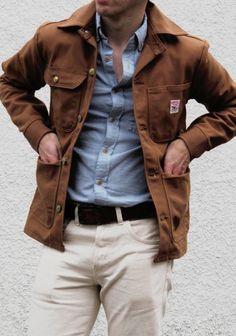 brown cotton twill jacket, indigo shirt, beige chinos / men fashion