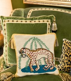 The Leopard needlepoint pillow is based on the beloved cushions Tory Burch's parents — both avid needlepointers — would make for each other as well as their shared interest in folk art.