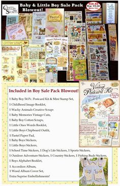 Get Crafty and Save Over 70% on Super Sale Blowout Packs in 8 Fab Themes! The Baby and Little Boy Sale Pack is filled with so many adorable images in Image Booklets, Stickers, Scraps, a Pastel Paper Pad, Little Boys Outfit, a Natural Accordion Album, a Wood Album and more!