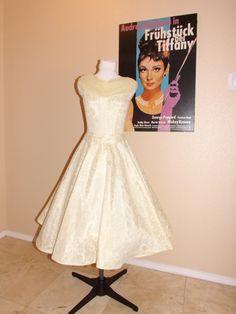vintage 50's lace shawl tea length wedding dress $129.99