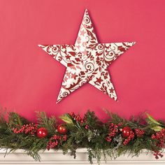 Red & White Damask Barn Star - TerrysVillage.com