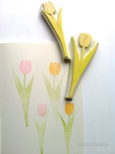 tulip hand carved rubber stamps  hand carved by talktothesun