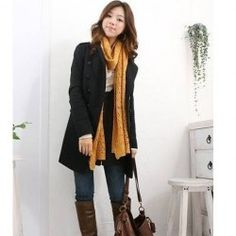 Whole outfit is cute! $12.19 British Style Stand Neck Long Sleeves Double Breasted Solid Color Fitted Woolen Blend Coat For Women