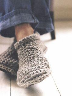 Cozy slipper boots. Free pattern