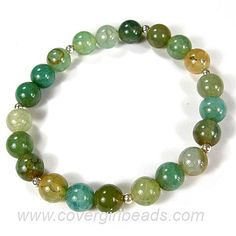 Beaded Stretch Bracelet Aqua Fire Agate Gemstone Artisan Hand Made | Covergirlbeads - Jewelry on ArtFire