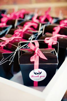 Chinese take out favor boxes filled with candy, lip gloss, cheap makeup, & nail polish gift boxes, girl parties, birthday parties, 40th birthday, favor boxes, parti favor, masquerade party favors, parti idea, bridal showers