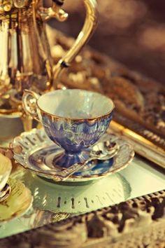 lovely violet blue and gold teacup