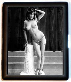 topless_Egyptian garb_metal cigarette case
