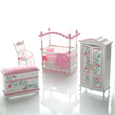 PINK & WHITE Victorian Baby Nursery Hand-Painted Dollhouse Miniature Canopy Crib Set. $265.00, via Etsy.