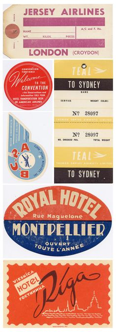 Around The World - vintage luggage labels