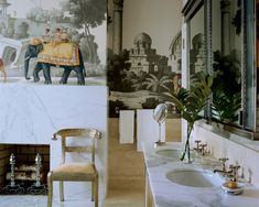 love the de Gournay wallpaper and the fireplace in the bathroom!