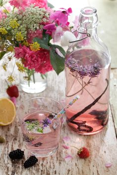 flavored water with blackberry, vanilla + lavender