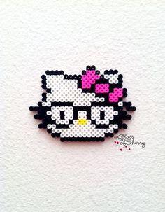 Hello Kitty with Glasses /  Perler Beads - Hama perlen - Bügelperlen