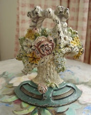 ANTIQUE HUBLEY FRENCH BASKET OF PINK ROSES CAST IRON DOORSTOP BOW COTTAGE